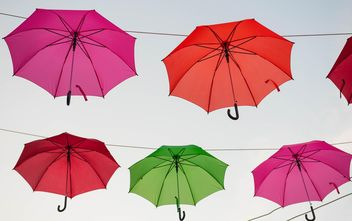 Colorful umbrellas hanging - image #273057 gratis