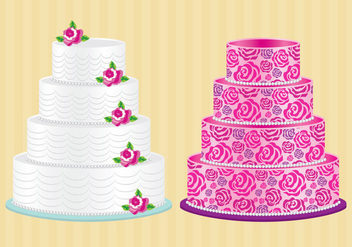 Cakes With Roses Vector - vector gratuit #273277