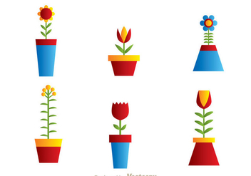 Beautiful Flowers In A Pot - Free vector #273367