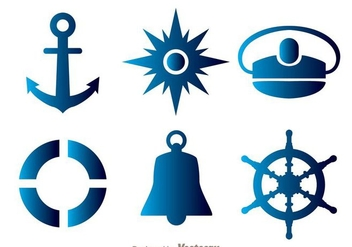 Nautical Blue Icons - Free vector #274267