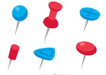 Red And Blue Push Pin Vectors - Kostenloses vector #274307