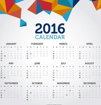 2016 clean creative calendar - Free vector #274557