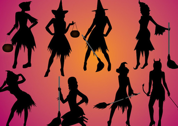 Female Witch Character Set Silhouettes - Free vector #274567