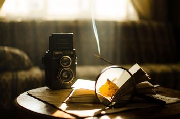 Autumn leaves through magnifying glass, book and old camera - бесплатный image #275317