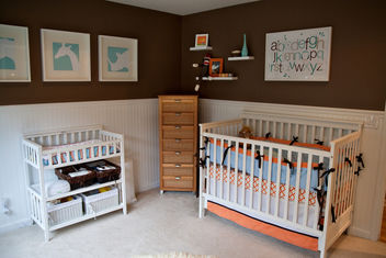 Aqua/Brown/Orange Boy's Nursery Design - image #281267 gratis