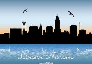 Lincoln Nebraska Skyline Illustration - бесплатный vector #301817