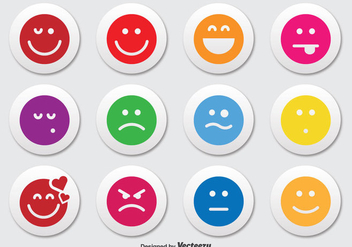 Emoticon Button Icon Set - Free vector #302457