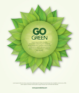 Go Green Leaves Round Banner - vector gratuit #302467