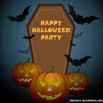 Halloween Poster with Pumpkins Tombstone - Free vector #302477