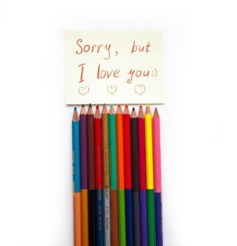 Colorful pencils and love note - image #302897 gratis