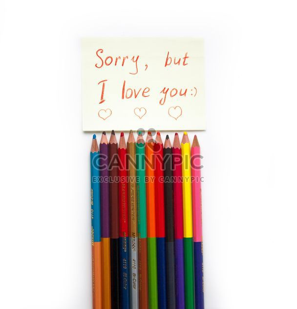 Colorful pencils and love note - Free image #302897