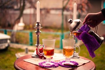 warm tea with cinnamon candles - image gratuit #302947