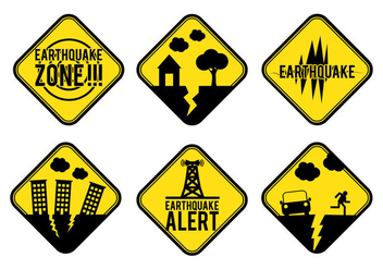 Earthquake Alert Sign Vector - Free vector #303017