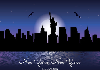 New York Night Skyline Illustration - vector gratuit #303057