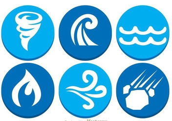 Natural Disaster Circle Icons - Free vector #303377