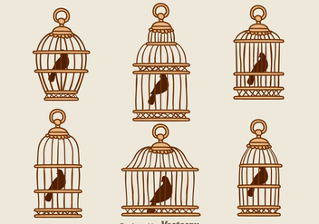Vintage Bird Wood Cage Vectors - бесплатный vector #303587