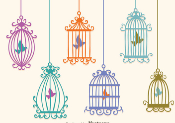 Colorful Vintage Bird Cage Vectors - Free vector #303597