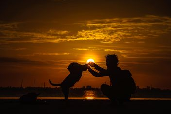 silhouette of man and dog at sunset - image #303977 gratis
