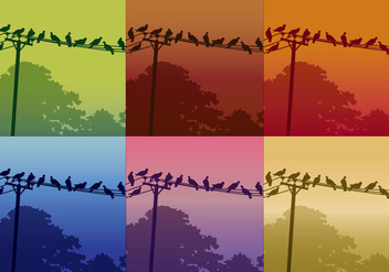Birds On Telephone Lines - vector gratuit(e) #304197
