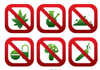 No Drugs Round Square SIgn Icons - vector gratuit(e) #304237