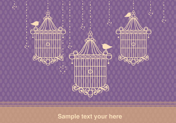 Background with Bird Cage Vintage Style - Free vector #304287