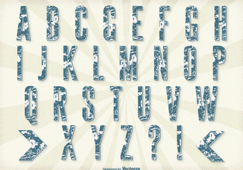 Retro Grunge Style Alphabet Set - Kostenloses vector #304417