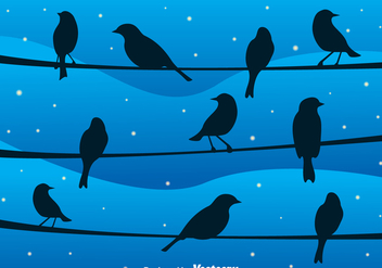 Bird On A Wire At Night Vector - vector gratuit #304877