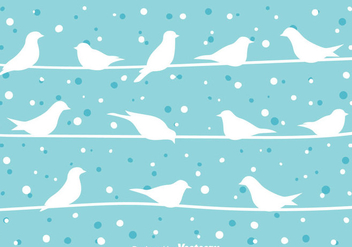 Bird On a Wire At Winter Vector - Free vector #304947