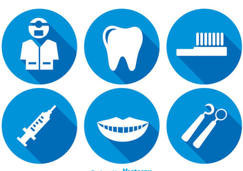 Teeth Care Long Shadow Icons - Free vector #304957