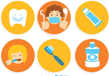 Brushing Teeth Cartoon Icons - Free vector #304997