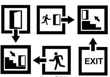 Black Exit Icons - Kostenloses vector #305097