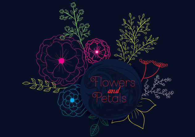 Flower and Petals - vector #305127 gratis