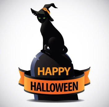 Halloween Witch Cat Tombstone Ribbon - Free vector #305257