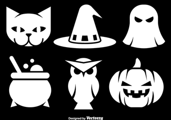 Halloween white icons - Free vector #305517