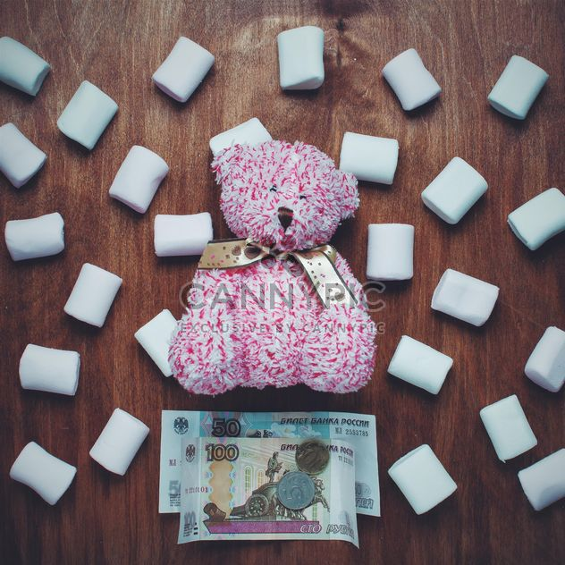 Pink teddy bear, marshmallows and money - Free image #305767