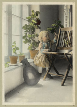 Vintage Portrait Photo Picture of a Little Blonde Girl in a Room of Plants and Sunshine - Free image #314147