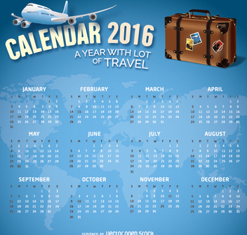 2016 Calendar Travel theme - vector gratuit #317737