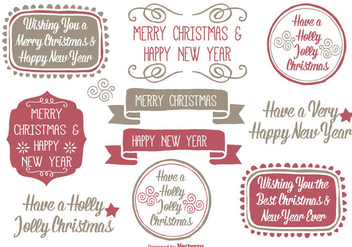 Hand Drawn Style Christmas Label Set - vector #326607 gratis