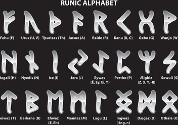 Silver Runic Alphabet - vector gratuit #326627