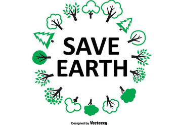 Save Earth Tree Wreath - vector gratuit #326667