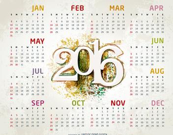 Grunge 2016 calendar template - Free vector #326827