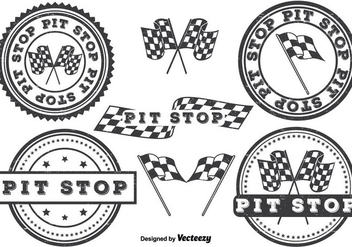Pit Stop Badge Set - Free vector #327017