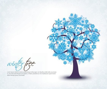 Blue Winter Tree Snowflakes Background - vector gratuit(e) #327177