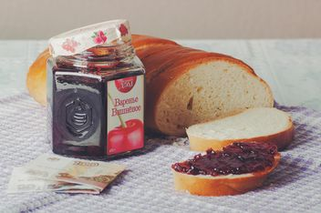 Cherry jam and bread for 3 dollars - image #327327 gratis