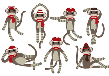 Sock Monkey Vectors - vector gratuit #327417
