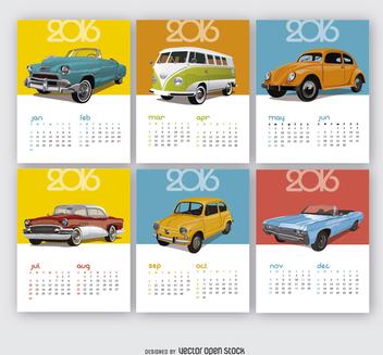 2016 Calendar Vintage cars - Kostenloses vector #327707
