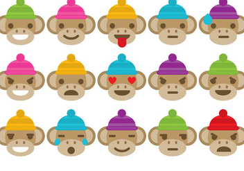 Sock Monkey Emoticons - бесплатный vector #327997
