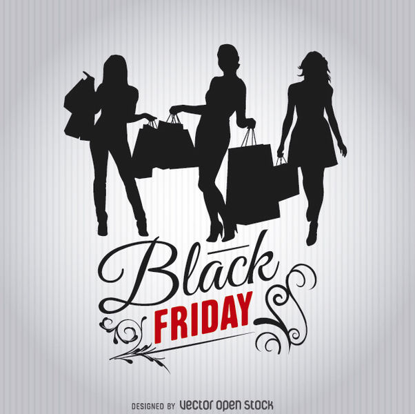 Black Friday Shopping Women Silhouettes Free Vector Download 328027 ...