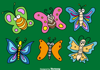 Cartoon butterflies vectors - Free vector #328267
