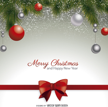 Christmas postcard with red bow and christmas balls - Free vector #328377